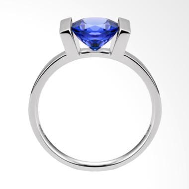 Tiaria 18K Deep Blue Sapphire Perhiasan Emas Cincin Wanita