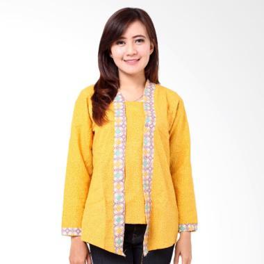 Batik Distro BA8594 Kutu Baru Panjang Blus Wanita - Kuning