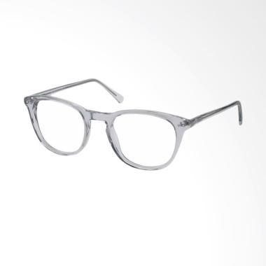 Kacamata Korea - Frame Abu abu - Lensa Transparent - MLD860