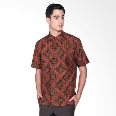 Danar Hadi Print Motif Ceplok Kitiran Kemeja Batik Pendek Pria -  Red