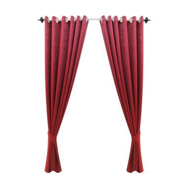 Lapak Gorden Blackout Serat Grade A Curtain - Merah [140 x 200 cm]