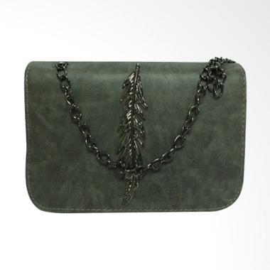 Shine Accessories TU1527 Motif Daun Tas Kulit Sling Bags Wanita - Grey