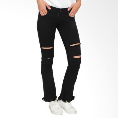 Nuber Gladiolus Ripped Ladies Mid B ... lana Jeans Wanita - Black