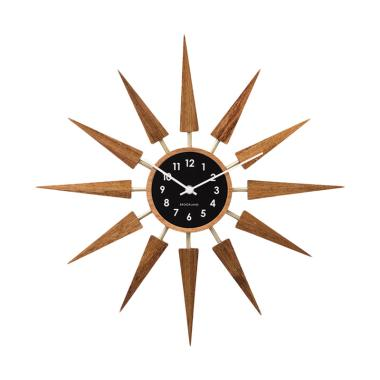 Zeller Life Starburst Harolt Wooden ... or Wall Clock - Dark Wood