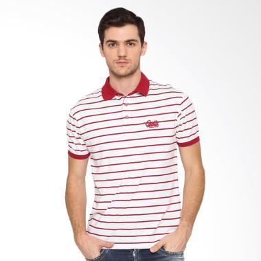 Osella Man Stripe White Polo Shirt Pria - Red White