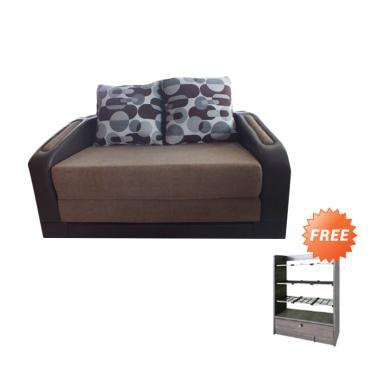 Creova Recli Sofa Bed - Coklat + Free Rak Sepatu