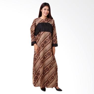 Batik Distro BA8758 Lengan Panjang Gamis Wanita - Coklat