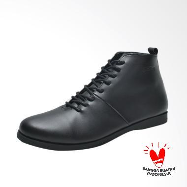 Fellas Shoes Basic HomeTown Syntetic Leather Boots Shoes Pria - Black