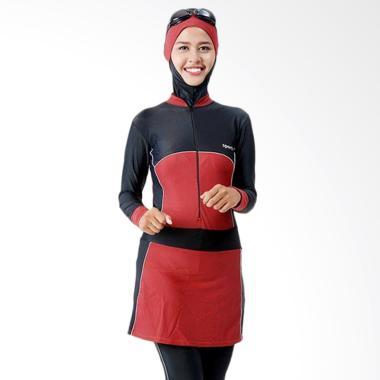 SPORTE Baju Renang Muslimah - Hitam Maroon [SM 57]