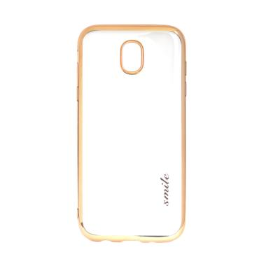 SMILE Ultrathin Shining List Chrome Softcase Casing for Samsung Galaxy J7 Plus - Gold
