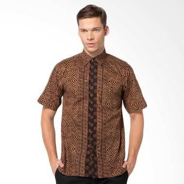 Batik Aksen Tropis Hem Pendek Remek Kotak Besar Atasan Pria - Brown