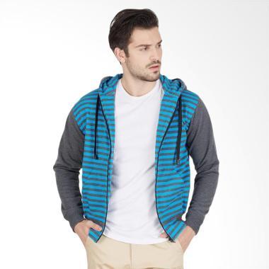 Enzy Batik Hoodie Zipper Grey Stripes Kemeja Pria - Grey
