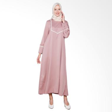 Elzatta Renda Fancy Gamis Muslim Wanita - Pink