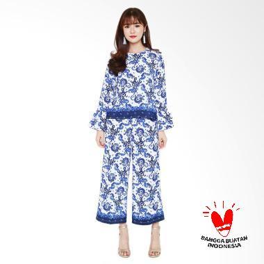 Flike Store 2 Layers Sleeve Blouse X China Setelan Batik Wanita - Blue