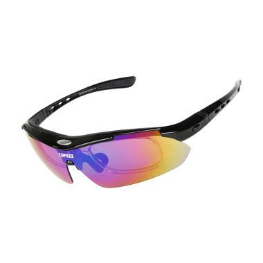 COPOZZ Myopia Kacamata Sepeda with 5 Lensa - Black
