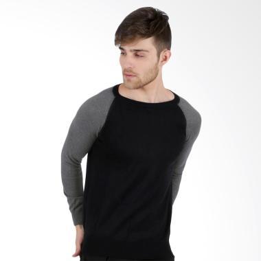 Elfs Shop Sweater Rajut Raglan - Hitam