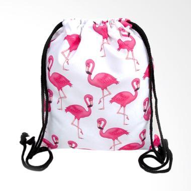 Paroparoshop White Flam Drawstring Bag Backpack - White