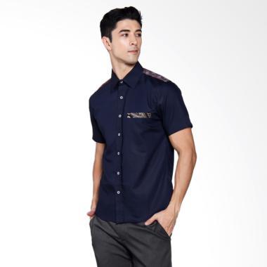 Batik Heritage Combination On Shoulder Slim Fit Kemeja Pria - Navy
