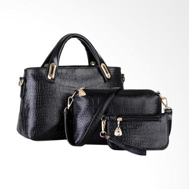 Lansdeal Purse Leather Women Bag Set- Black