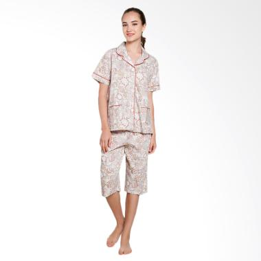 Just Fashion Katun Piyama Baju Tidur Wanita - Cream Brown