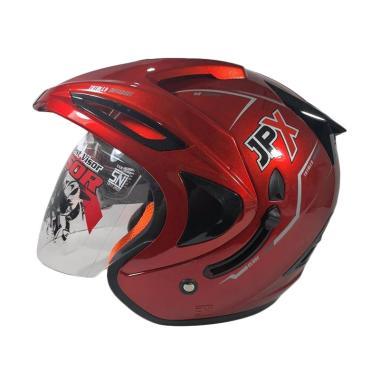 JPX Supreme Double Visor Helm Half Face Red Maroon Doff .