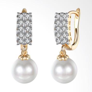 SOXY KZCE112-E Double Row Zircon Studded Pearl Romantic Earrings