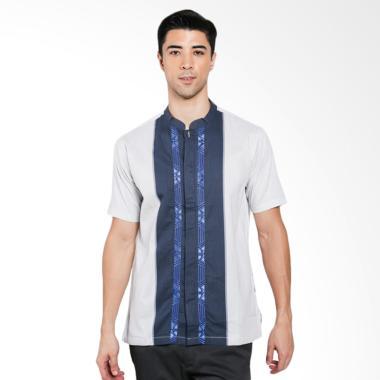 ISBAT Erin Collection Baju Koko Pria - Putih Kombinasi Biru
