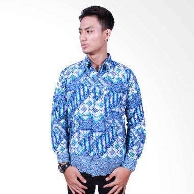 Batik Putri Ayu Solo Kemeja Batik Lengan Panjang - Biru[KPJ502]