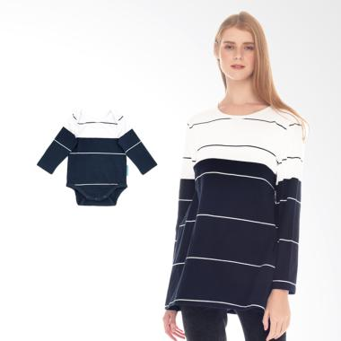 Mooimom Striped Nursing Top Couple  ... yusui & Anak - White Navy
