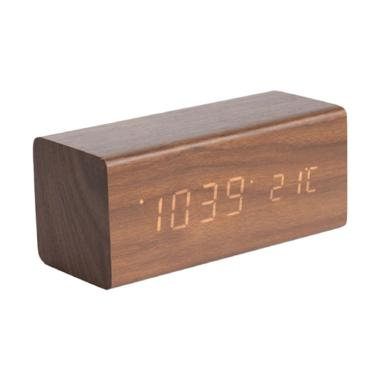 Karlsson Block Dark Wood Veneer White LED Jam Alarm