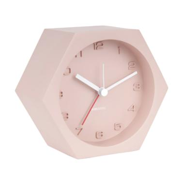 Karlsson Hexagon Concrete Alarm Clock - Pink