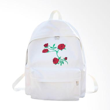 Lansdeal Women Girls Canvas Embroidery Flowers Backpack - White