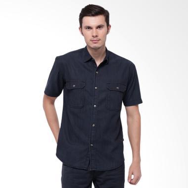Edwin Kemeja Jeans Lengan Pendek Pria - Hitam [T2068-Black]