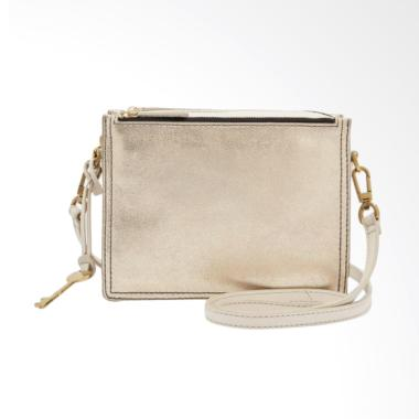 Fossil ZB 7400751 Campbell Crossbody Bag Wanita - Pale Gold Metalic