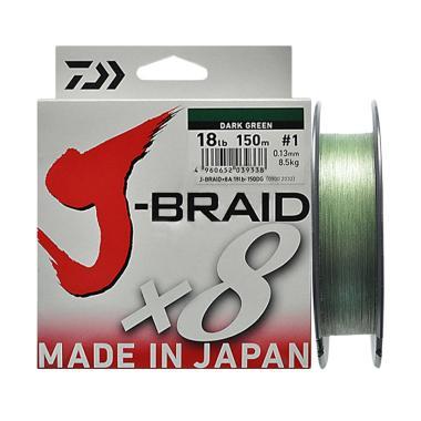Senar PE Daiwa J Braid X8 150M Ukuran 18 Lb