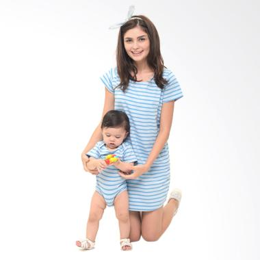 Mooimom Comfort Stripe Nursing T-Sh ... il Menyusui & Anak - Blue