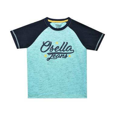 Osella Kids Solid White Kids Print Jeans T-Shirt Anak - Baby Blue