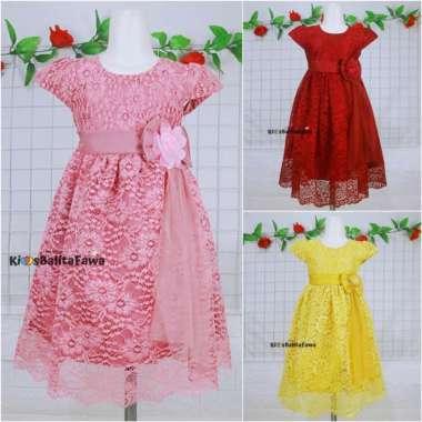 harga Gaun Pesta Size 3-12 Tahun  Eksport Quality Premium Brukat Dress Anak - 3-4 tahun Maroon Murah Blibli.com