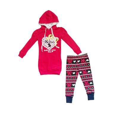 Walton Hoody Panjang dan Legging Setelan Pakaian Anak - Red