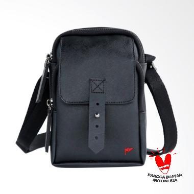Taylor Fine Goods Akita Leather Sling Bag Pria - Black