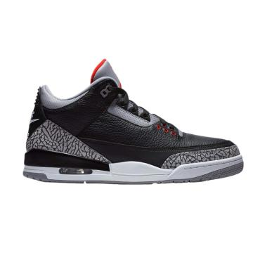 NIKE Men Air Jordan 3 Retro Sepatu  ... Black Cement [854262-001]