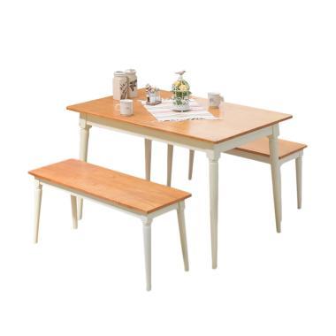Livien Furniture 2 Bench Set Meja Makan - Coklat Muda