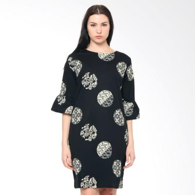 FBW Sonia Flutted Piring Sleeves Batik Dress - Hitam