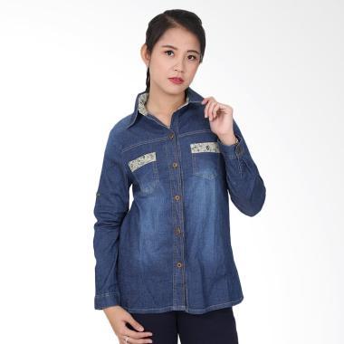 Adore Ladies Jeans Kemeja - Dark Blue