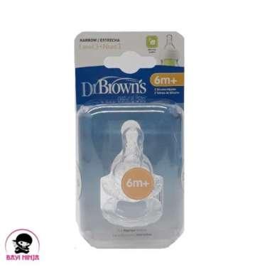 harga Promo DR BROWNS Narrow Bottle Natural Flow Dot Bayi 6m isi 2 pcs -DB026 Berkualitas Blibli.com