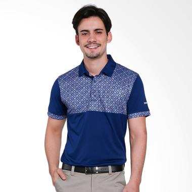 Svingolf Batik Kotak Polo Baju Golf - Blue Marine