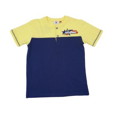 Kids Icon Superman Collar Stand T-Shirt Kaos Anak Laki-Laki