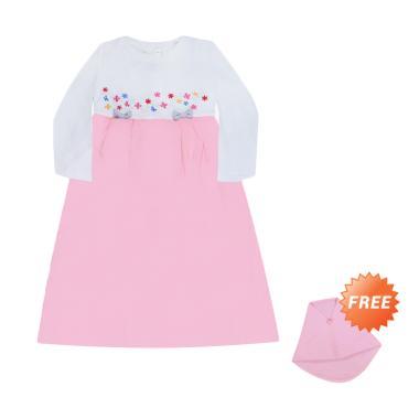 MacBear MacBee Kids Azahra Baju Gamis Anak - Pink + Free Hijab