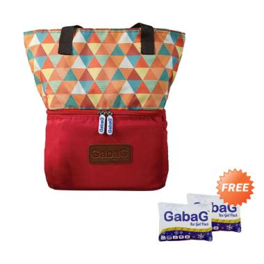 Gabag Senja Picnic Series Cooler Bag - Maroon + Free 2 Ice Gel