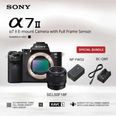 harga SONY Alpha a7II / a7 mark II / ILCE- 7M2 Kamera Mirrorless [Full Frame/ Body Only] with Lensa FE 50mm F1.8 -Hitam Bundling NP-FW50 + BC-QM1 Blibli.com